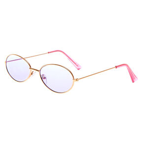 Slim Oval Sunglasses - Purple,