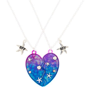 Best Friends Starfish Heart Pendant Necklace - Blue, 2 Pack,