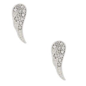 Silver Crystal Wing Stud Earrings,