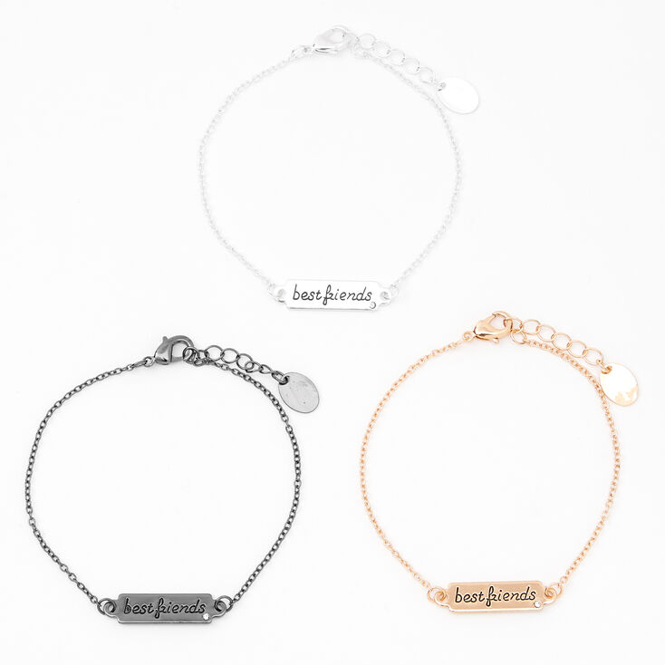 Mixed Metal Script Plate Friendship Bracelets - 3 Pack,