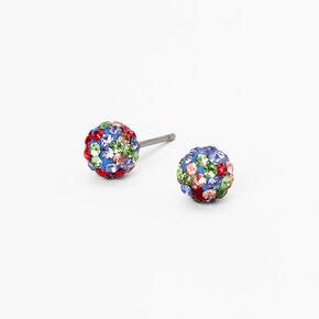 Rainbow Embellished Fireball Stud Earrings - Blue,