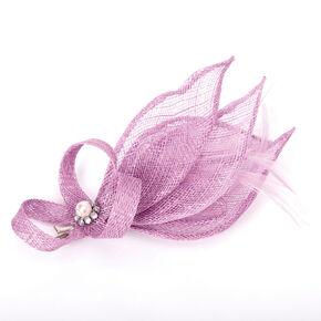 Embellished Teardrop Fascinator Hair Clip - Mauve,