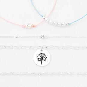 Silver Dandelion Charm Bracelet Set - 5 Pack,