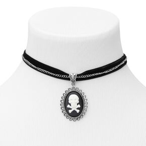 Victorian Skull Choker Necklace - Black,