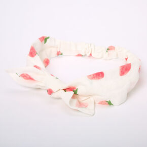 Strawberry Knotted Bow Headwrap - White,