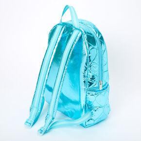 Metallic Quilted Heart Medium Backpack - Blue,
