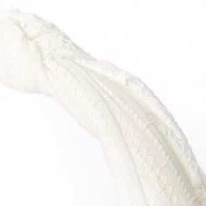 Eyelet Knotted Headband - White,