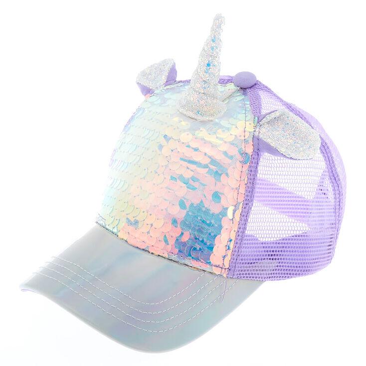ce1cfa1d47b Holographic Unicorn Sequin Trucker Hat | Claire's