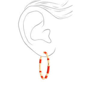 Gold 50MM Threaded Hoop Earrings - Orange,