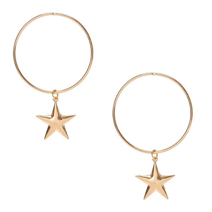 Gold Tone Circle Star Dangle Earrings