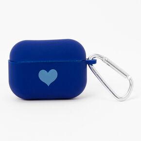 Étui pour écouteurs en silicone bleu marine motif cœur - Compatible avec les AirPods Pro® de Apple,
