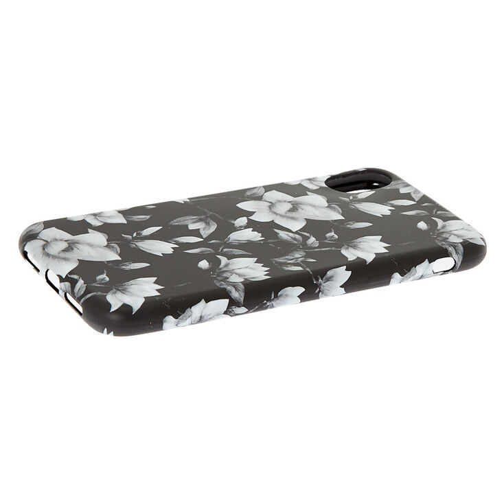 Black & White Floral Phone Case - Fits iPhone XR,