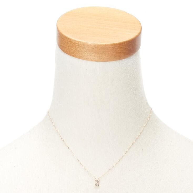 Rose Gold Embellished Initial Pendant Necklace - K,