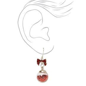 """Silver 1.5"""" Glitter Ornament Drop Earrings - Red,"""