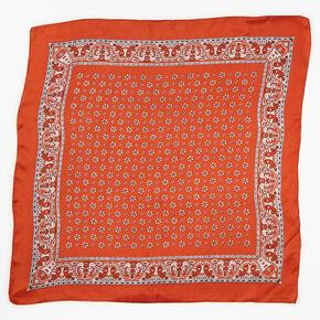 Bandeau bandana soyeux imprimé floral et cachemire - Couleur rouille,