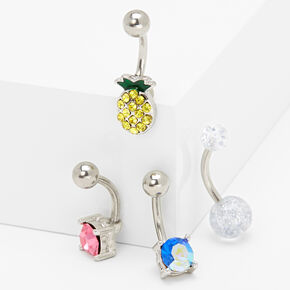 Silver 14G Crystal Pineapple Belly Rings - 4 Pack,