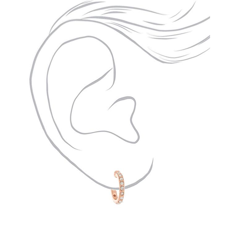 18kt Rose Gold Plated Half Hoop Earrings,