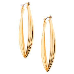 Gold 50MM Twisted Oval Hoop Earrings,