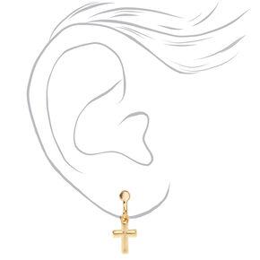 "Mixed Metal 0.5"" Cross Clip on Drop Earrings - 3 Pack,"
