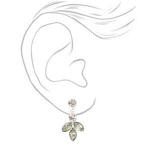 """Silver 1"""" Triple Crystal Clip On Drop Earrings,"""