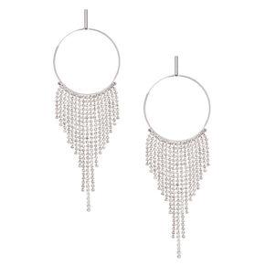 """Silver Rhinestone 4"""" Glam Dreamcatcher Drop Earrings,"""