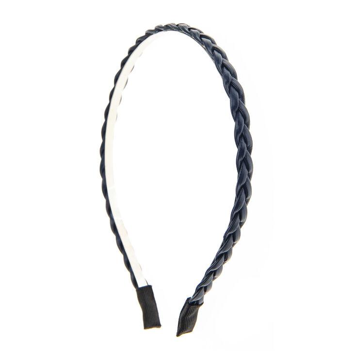 Faux Leather Plaited Headband - Navy,