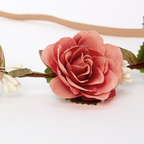 Couronne de fleurs avec roses artificielles poudrées - Rose,
