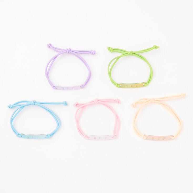 Bracelets d'amitié réglables plaques métalliques aux tons pastel - Lot de 5,
