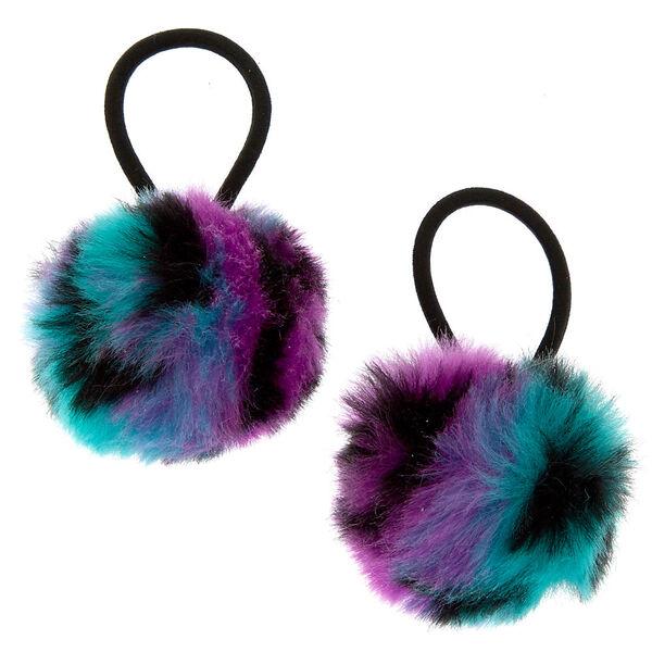 Claire's - rainbow leopard pom pom hair ties - 1