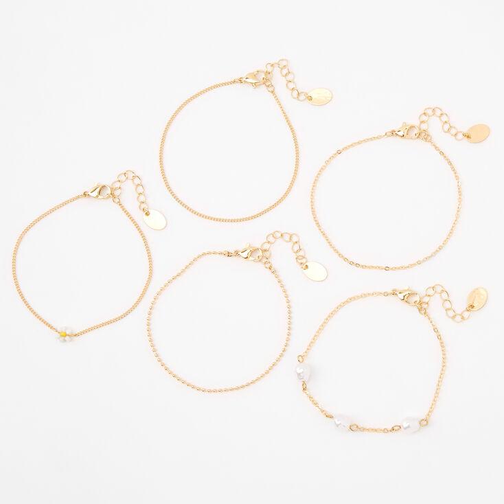 Bracelets de chaîne avec marguerite et perle d'imitation couleur dorée - Lot de 5,