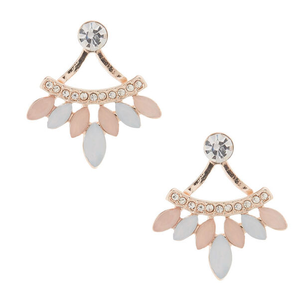 Claire's - blush front & back earrings - 1