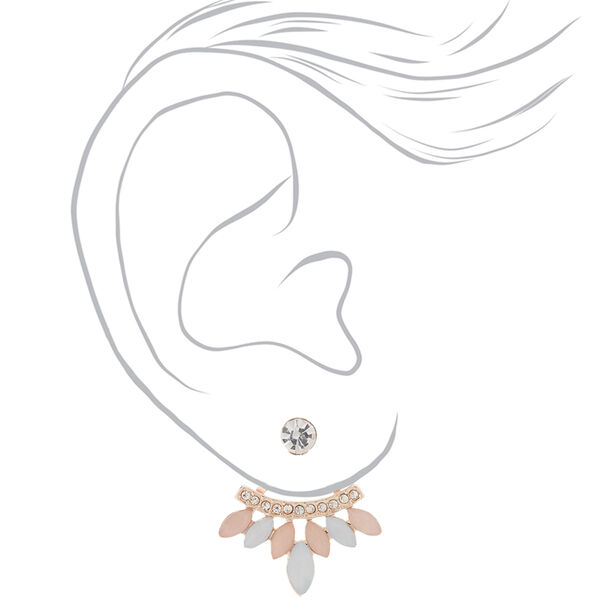 Claire's - blush front & back earrings - 2