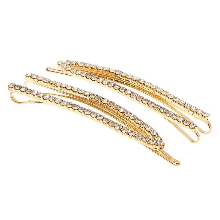 Gold Rhinestone Open Bobby Pins - 2 Pack,