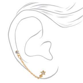 Gold Crystal Star Connector Chain Stud Earrings,