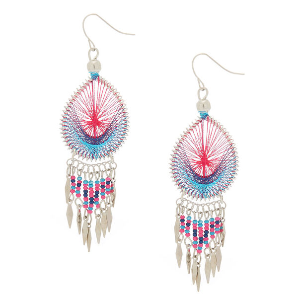 """Claire's - silver 3"""" threaded drop earrings - 1"""