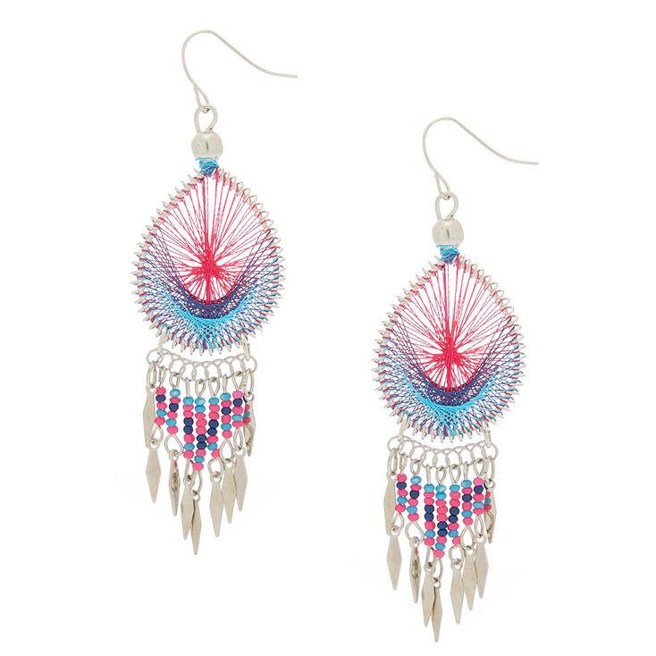 Silver 3 Threaded Drop Earrings