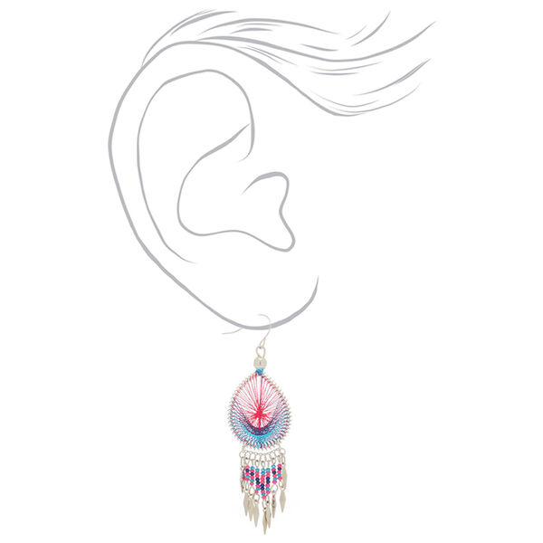 """Claire's - silver 3"""" threaded drop earrings - 2"""