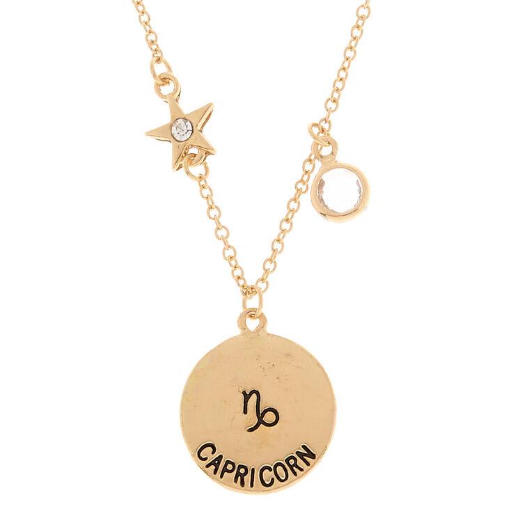 Gold zodiac pendant necklace capricorn claires gold zodiac pendant necklace capricorn mozeypictures Gallery