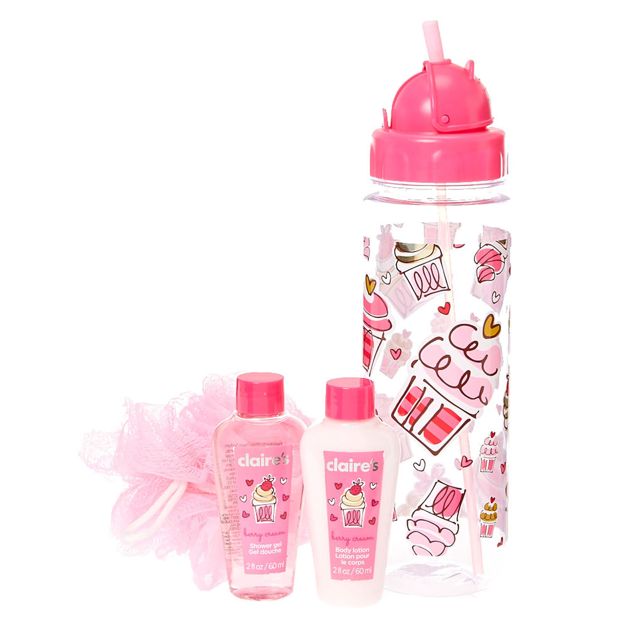 Water Bottle Set: Cupcake Water Bottle Bath Set
