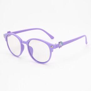 Claire's Club Solar Blue Light Reducing Round Clear Lens Unicorn Frames - Purple,