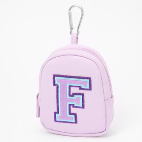 Purple Varsity Initial Mini Backpack Keychain - F,