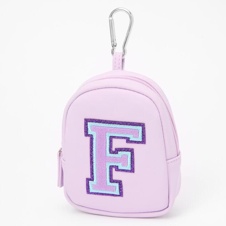Purple Varsity Initial Mini Backpack Keychain - F,