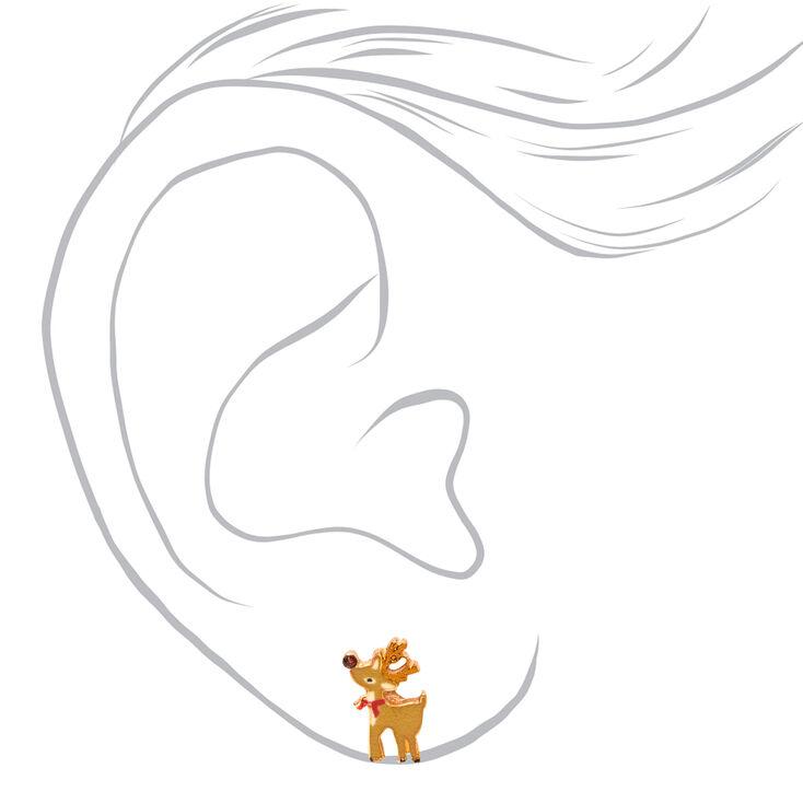 18kt Rose Gold Plated Reindeer Stud Earrings,