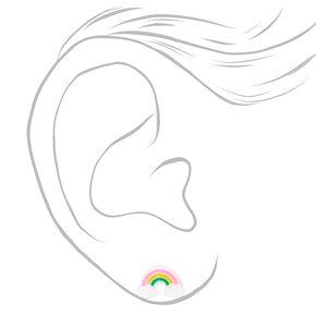 Clous d'oreilles arc-en-ciel à paillettes couleur argentée,