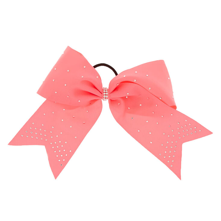 Bedazzled Cheer Bow Hair Tie - Hot Pink  f01b4827167