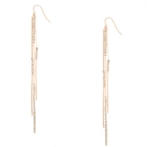Rose Gold Glass Rhinestone Bar Drop Earrings,