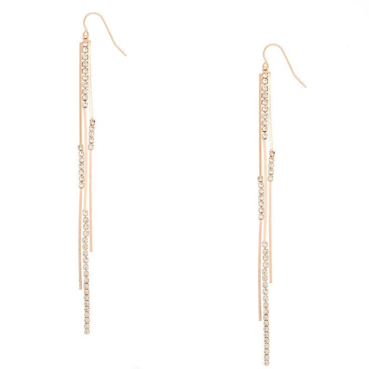 Rose Gold Glass Rhinestone Bar Drop Earrings,