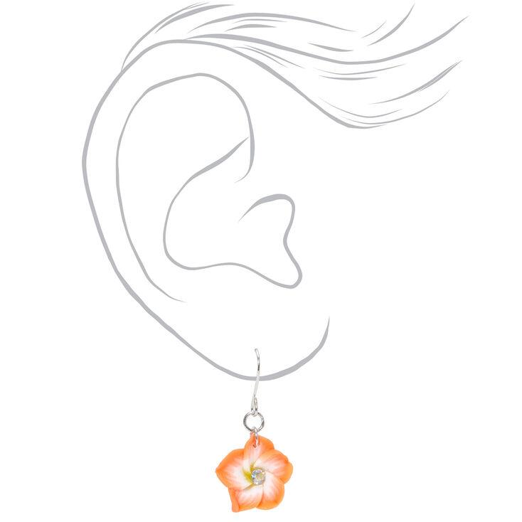 """Silver 1"""" Hibiscus Flower Drop Earrings - Coral,"""