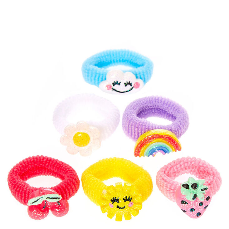 Claire's Club Bright Summer Charms Ribbed Hair Bobbles - 6 Pack,
