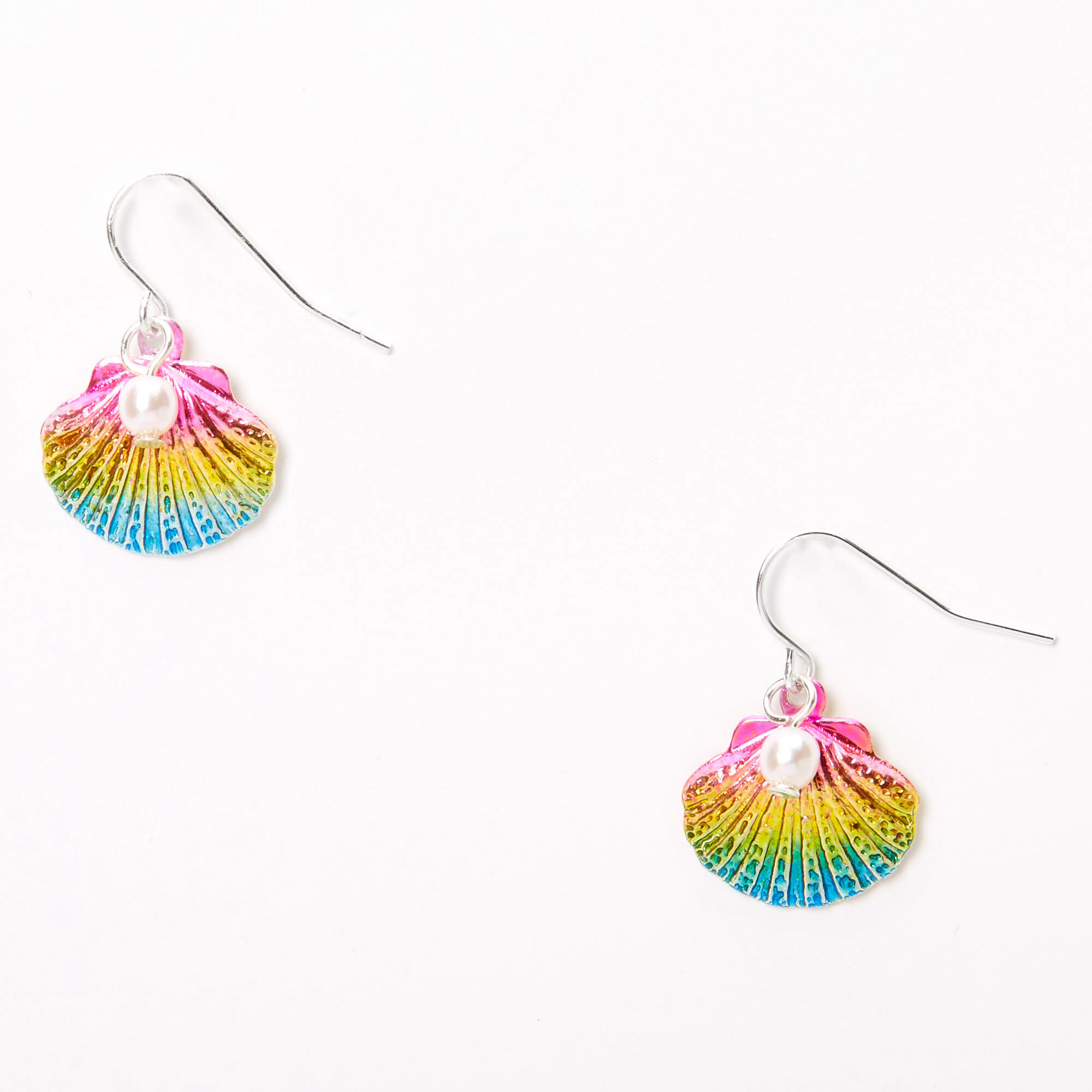 Claires Girls 2.5 Rainbow Glitter /& Feather Owl Drop Earrings